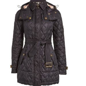 Burberry Black Belted Quilted Check lining Jacket Coat S